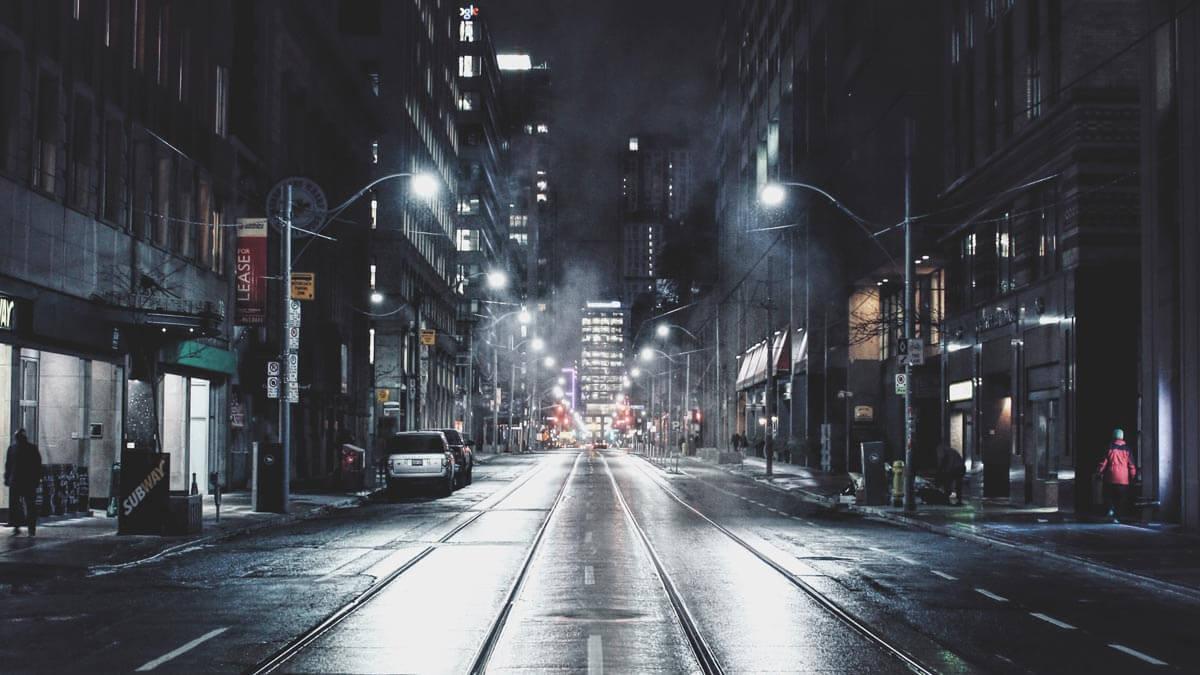 Street at night with bright street lights