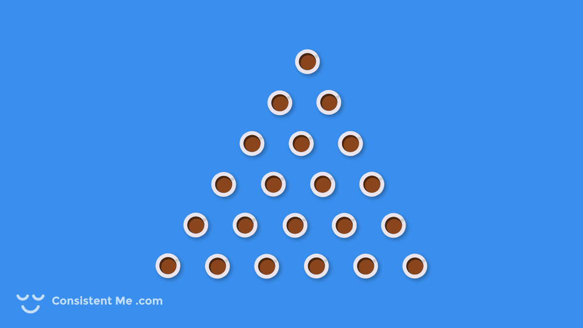 Illustration of coffee cups aligned into a pyramid shape