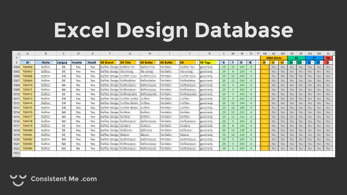 Screenshot of my print on demand design database in Excel