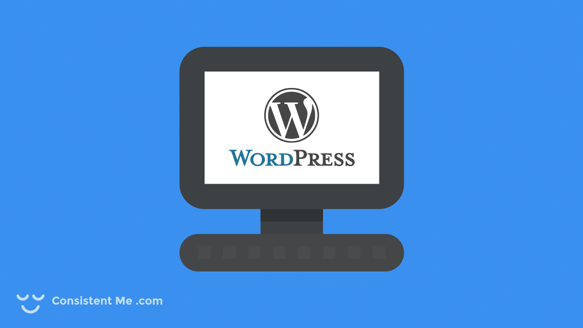 Illustration of a computer with a WordPress logo on the screen